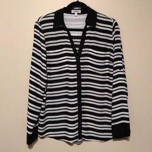 Black & White Striped Express Portofino Shirt